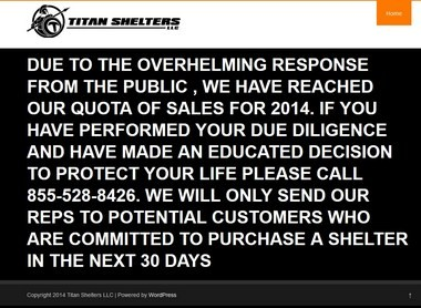 A May 2014 screen shot from the Titan Shelters web site.