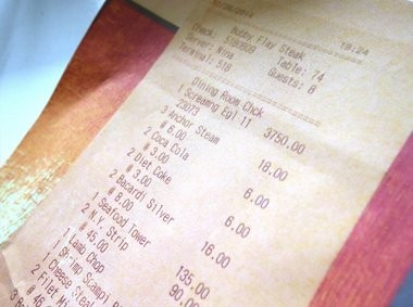 A photo of the receipt from Joe Lentini's dinner at Bobby Flay Steak at the Borgata in Atlantic City.
