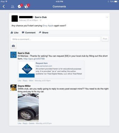 A screenshot of one of Dayna Miller's posts on Sam's Club's Facebook page. She said the moderator ignored her requests for help.