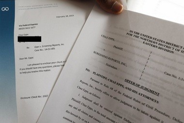 Chaz Epps shares paperwork from his lawsuit against credit reporting firm Screening Reports.