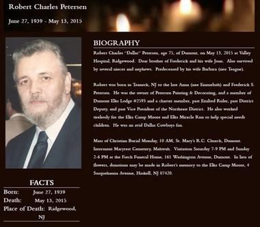 An online obituary for Robert Petersen.