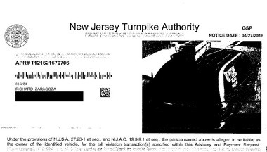At least one E-ZPass violation notice included a photo of a company registered to Niemann.