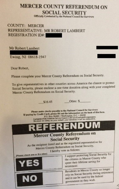 "A redacted copy of the one-page ""referendum"" with donation information."