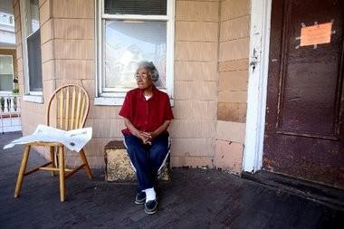 Gwendolyn Dixon outside her East Orange home.