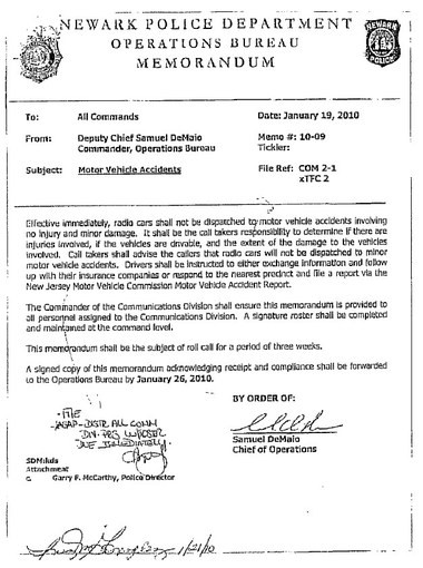The 2010 memo that said Newark police won't respond to non-fatal accidents.