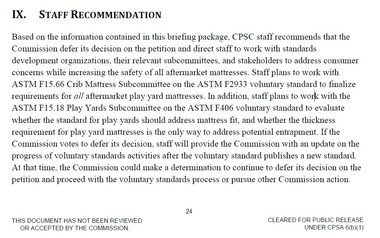 A screen shot of the staff recommendations to the CPSC commissioners on a supplemental mattress ban.