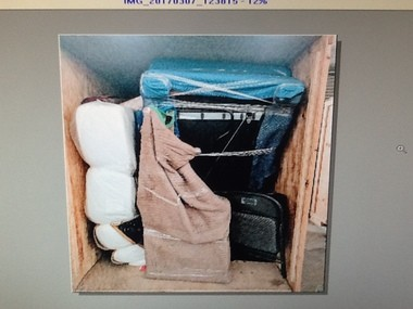 An image of Patrick Buckley's belongings in storage, sent to him by Fastway Moving.