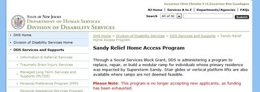 A screen shot of the state website, showing the program that would have provided a lift for the Secklers is out of money.