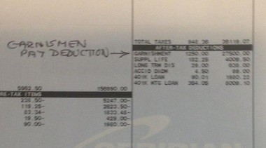 A cropped portion of the Nov. 30, 2010 pay stub that shows $1,250 was garnished from David Thomson's check.
