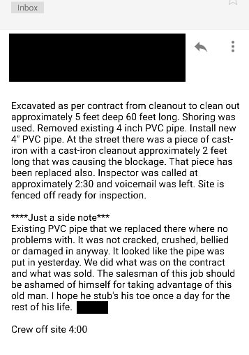 An internal email about Karl Baer's pipe replacement, provided to Bamboozled by an A.J. Perri employee.