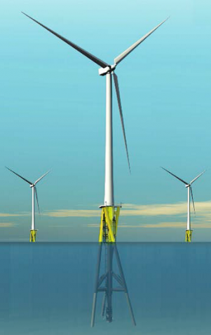 The offshore wind turbine proposal by Fishermen's Energy would use a trussed structure, above rendering, similar to a massive radio tower. The so-called twisted jacket foundation has three legs that are twisted around a central column, which developers say is easier to manufacture and install than traditional foundations.