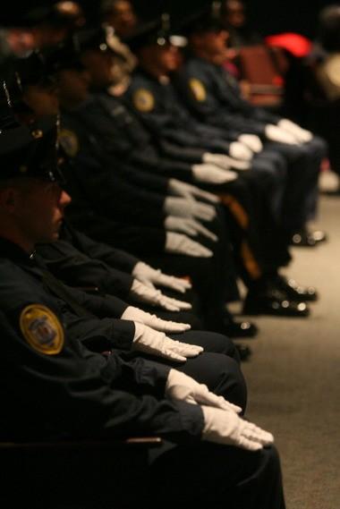 An earlier class graduates from the Camden County Police Academy.