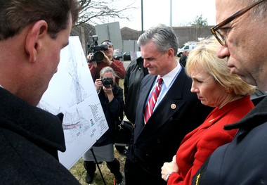 Rick Hammer, assistant commissioner of the New Jersey Department of Transportation, left, talks about the $900 million construction project to re-engineer a massive interchange between I-295, I-76 and Route 42 to, from right, NJDOT Commissioner Jim Simpson, Lt. Governor Kim Guadagno and Congressman Rob Andrews, Monday, March 11, 2013. (Staff Photo by Lori M. Nichols/South Jersey Times)
