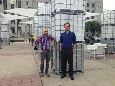 Bevan Weissman (at left) and Dan Sternof Beyerfrom New American Public Art, stand with the interactive lights at the new Pop-Up Park at Roosevelt Plaza Park in Camden on Monday, September 8, 2014. (Staff Photo by Kristina Pritchett   South Jersey Times)
