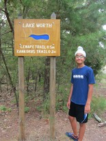 In addition to removing invasive species, 14-year-old Eagle Scout Sherveer Pannu also replaced trail markers at signs at Lake Worth Park in Camden County over the summer. (Photo provided)