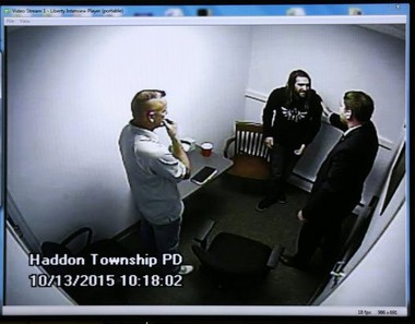"""David """"D.J."""" Creato Jr. is informed that his son has been found deceased by detectives Don Quinn (left) and Michael Rhodes while being questioned last October. Video recordings of D.J. Creato's interview with detectives, the day his son went missing, are played in court Tuesday June 14, 2016."""