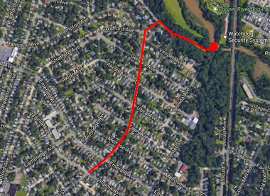 A dog tracked Brendan's scent up Cooper Street to Cooper River Park, and then to a small stream off the river.