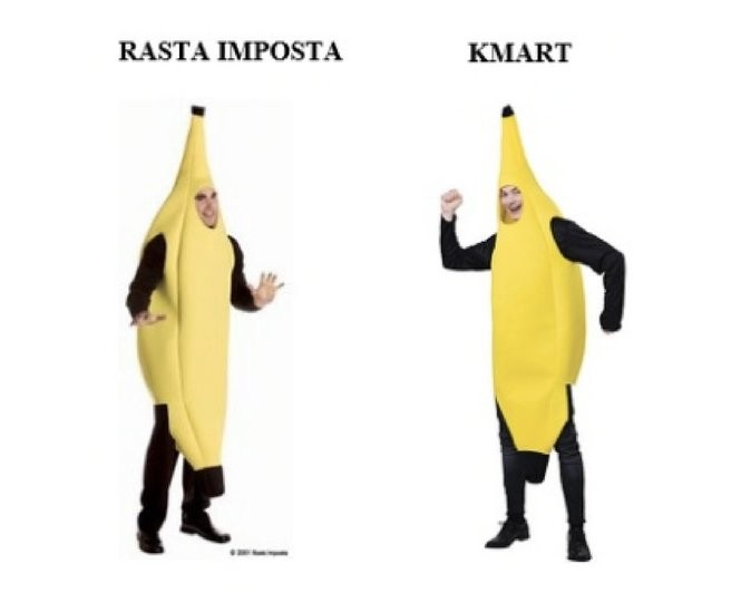 N.J. company claims Kmart is illegally selling knockoffs of its banana costume design. (Photos from court document)
