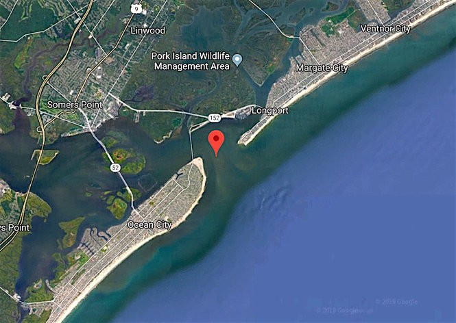 A U.S. Coast Guard crew rescued six people from a 41-foot pleasure craft after the boat caught fire Sunday in the Great Egg Harbor Inlet near Ocean City.