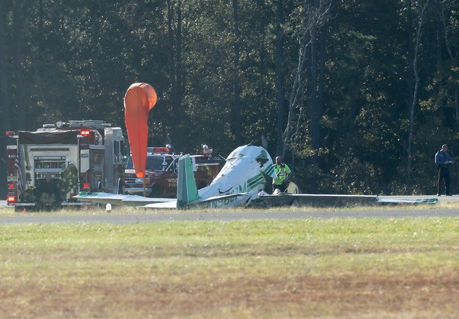 Authorities respond to a small plane crash at Woodbine Municipal Airport in Cape May County, Tuesday afternoon, Oct. 23, 2018. The pilot was killed.