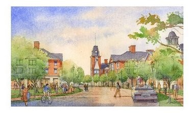 An artists' rendering of the TCNJ Campus Town project.