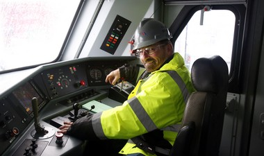 Kris Kondor, a machinist with NJ Transit does a daily safety check at the Morrisville Rail Yard in Morrisville, Pa. on Friday, March 8, 2013. Kris and his two brothers, all from Ewing, are long time NJ Transit employees