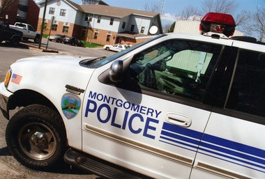 A Montgomery Township police vehicle outside police headquarters.