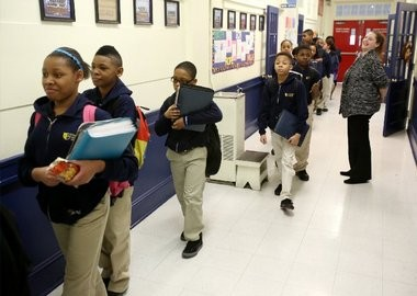 A file photo of students moving between classrooms at the Foundation Academy Charter School on South Broad Street in Trenton