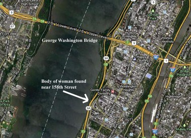 The body of a woman was recovered Wednesday from the Hudson River floating near the rocks at 158th Street in Manhattan, which is roughly one mile south of the George Washington Bridge.