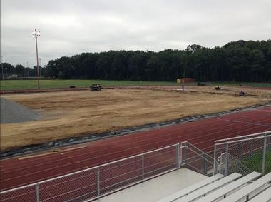 A Twitter picture of the athletic field renovations taken by HHS Principal Dennis Vinson.