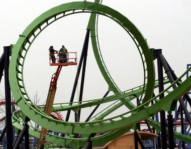 In this file photo, The Green Lantern stand-up coaster, themed around the DC Comics Super Hero is under construction at Six Flags Great Adventure in Jackson on Friday, April 8, 2011.