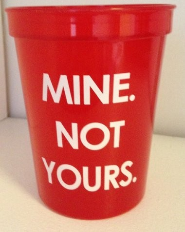 One of the 5,000 16-ounce red cups handed out by the university in an effort to raise awareness and prevent meningitis from being spread across Princeton University's campus.