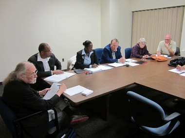 Caption: Trenton's new Ethics Board meets in its first gathering, Oct. 9, 2013 in Trenton City Hall. From left, Brian Daly, Sherwood Brown, Barbara Brown-Wilson, chairman Stephen Slusher. Patricia Stewart, and secretary Jim Carlucci.