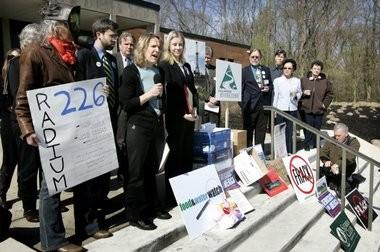 Maya K. van Rossum from Delaware Riverkeeper and other representatives of environmental groups speak in an April 2011 file photo.
