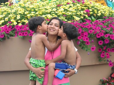 Bindu Philips with her twin boys who were abducted by their father.