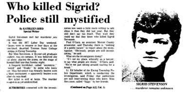 A front-page story on the one-year anniversary of Sigrid Stevenson's death