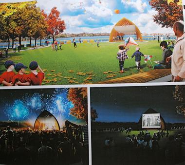 A preliminary vision for Burlington City's riverfront promenade designed by Philadelphia-based Olin Studio.