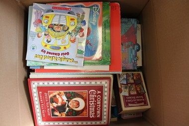 Some of the nearly 2,600 children's books collected. (Courtesy of Amman Seehra)