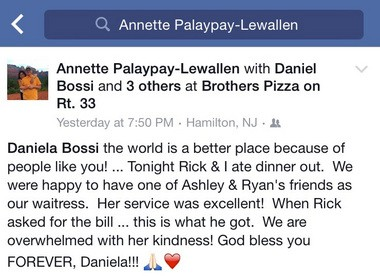 A Facebook post from Annette Lewallen thanking her Brother's Pizzeria server, Daniela Bossi, for picking up tab on a meal for her and her husband, Rick, who is battling brain cancer. (Contributed photo)