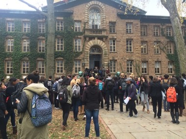 Students filter into Nassau Hall for a sit-in to demand campus-wide changes for black students at Princeton University on Nov. 18, 2015 (Anna Merriman | For NJ.com))
