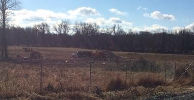 Excavators at Maxwell's Field near the Princeton Battlefield State Park in Dec. 2015.