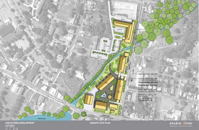 The revised concept plan for the redevelopment of Hightstown's rug mill. (Studio Hillier)