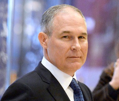 Scott Pruitt, Attorney General of Oklahoma, arrives in Trump Tower in this Nov. 28 2016 photo. (AP photo)