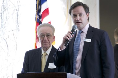 First Bank CEO Patrick Ryan, right, at a recent MIDJersey Chamber of Commerce event with Joe Ridolfi. (File photo)