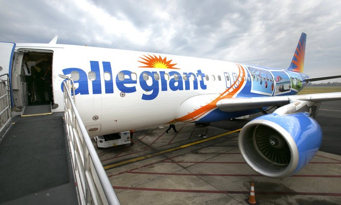 An Allegiant jet at Trenton-Mercer Airport. (File photo)