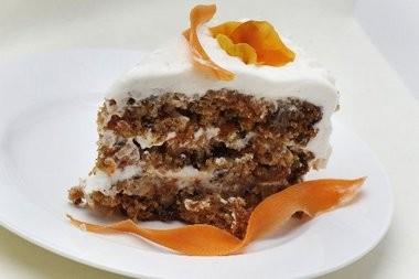 A slice of moist carrot cake is heavenly in winter.