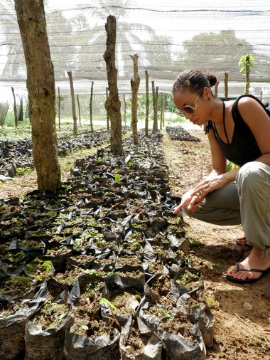Melanie Flores, founder and owner of Anahata Cacao, looks at cacao plant seedlings at the Hacienda Elvesia cacao plantation in the Dominican Republic.
