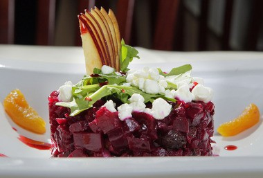 The heart beet salad at Vidalia in Lawrencevillle focuses on natural sweetness of beets, figs, apricots, raisins, walnuts, goat cheese and honey balsamic vinaigrette