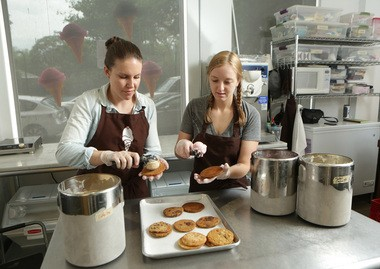 Emma Taylor, owner of Milk Sugar Love Creamery and Bakeshop in Jersey City, makes ice cream sandwiches with kitchen manager Clare Wilson.