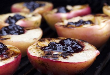 Dessert on the grill is a natural for healthy eating because so little fat is needed in the cooking. Grilled Nectarines with Blueberry Preserves can make use of your dying charcoal fire or done on the gas grill.